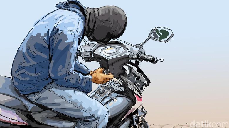 Aksi Pencuri Ini Terhenti Setelah Motornya Menabrak Mobil