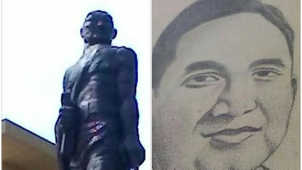 Patung Gajah Mada di Mabes Polri dengan sketsa wajah M Jasin.