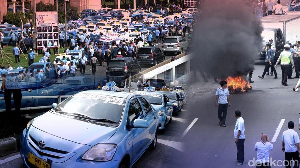 Demo Anarkis Sopir Taksi di Jakarta Mendunia