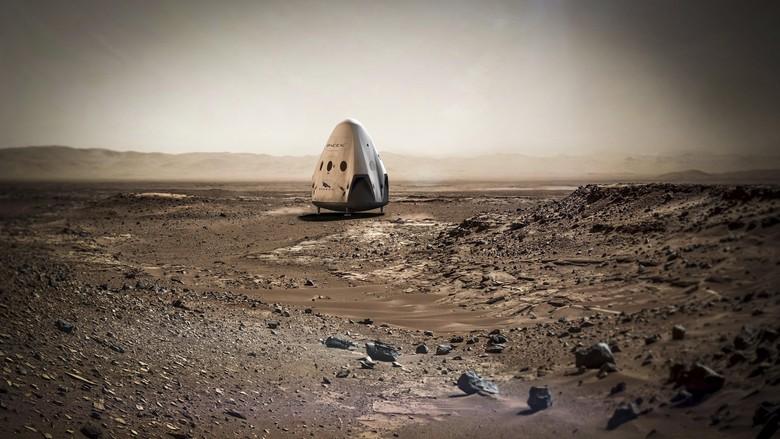SpaceX Akan Terbangkan Pesawat Antariksa Tanpa Awak ke Mars Tahun 2018