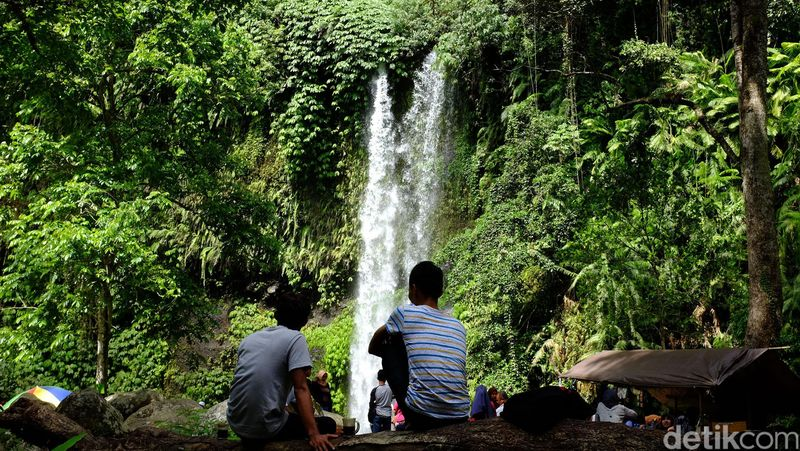 Air Terjun Sendang Gile Lombok, berada di kawasan hutan Taman Nasional Gunung Rinjani, NTB. Air terjun ini memiliki tinggi sekitar 31 meter yang terbagi dua tingkat, dengan kolam air yang menantinya jatuhnya air. (Ari Saputra/detikTravel)