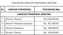 Pemerintah Beri Tunjangan PNS Rescuer Rp 450 Ribu-Rp 1,035 Juta Per Bulan