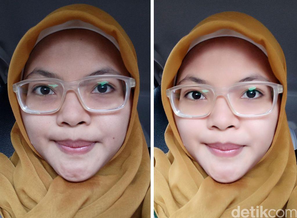 Perbandingan selfie tanpa Beautify 4.0 dan menggunakan Beautify 4.0