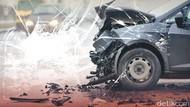 Kecelakaan Tunggal di JLNT Antasari, Bagian Depan Mobil Ringsek