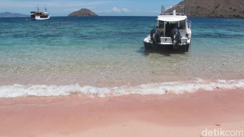 Pantai Namong yang pasirnya berwarna pink (Afif/detikTravel)