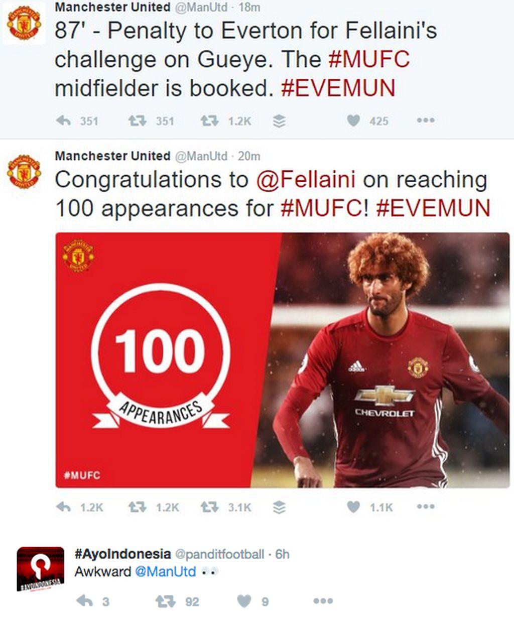 Di laga ke-100 bersama MU, Fellaini harusnya bikin rekor dengan mempertahankan kemenangan. Namun ia lebih memilih jadi pahlawan bagi Everton, mantan klub yang pernah lama dibelanya. Foto: Meme on Twitter
