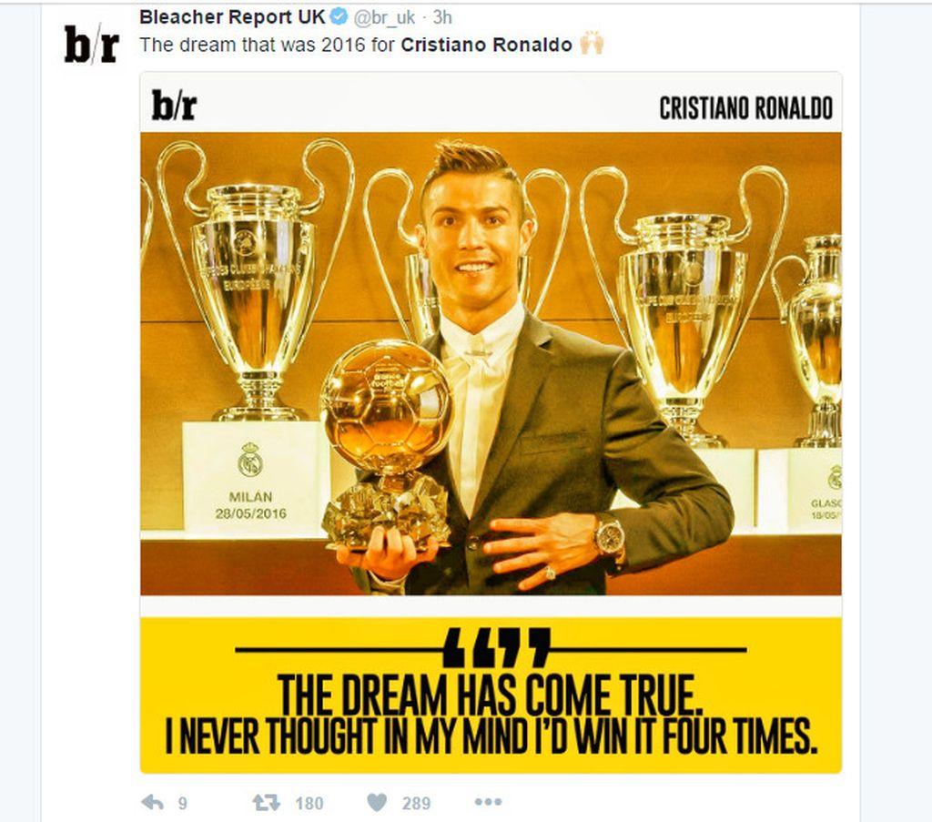 Ini adalah keempat kalinya Ronaldo memenangi Ballon dOr. Foto: Istimewa