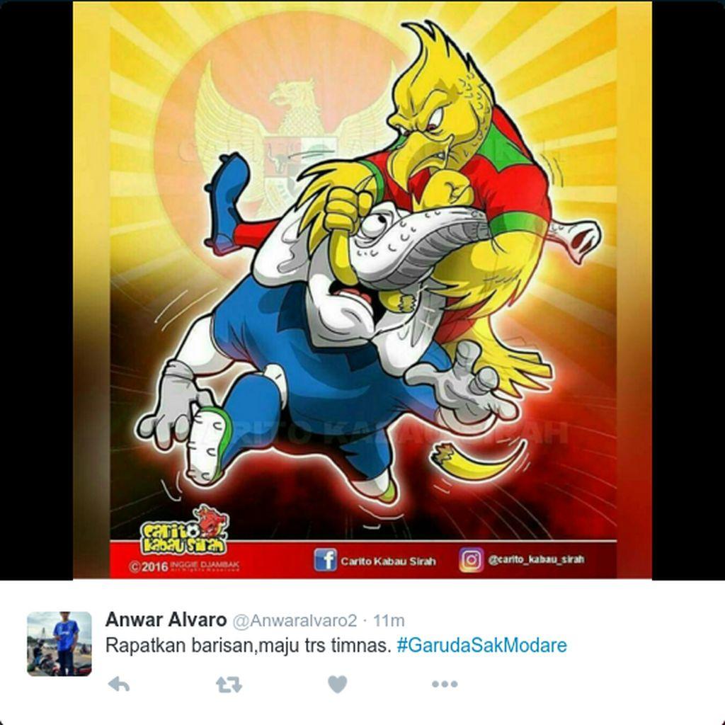 Garuda didoakan membungkam Gakah Putih Thailand. Foto: Twitter