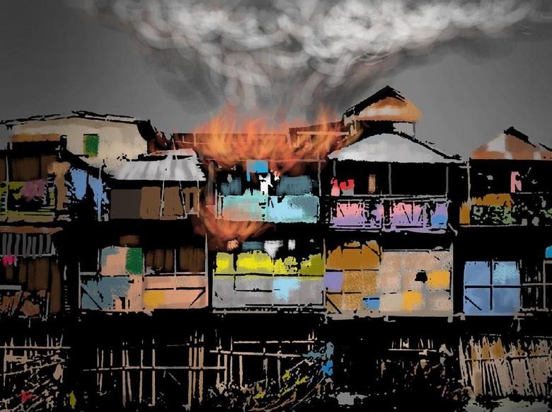 Kebakaran Rumah di Unit Damkar - Jakarta Kebakaran rumah terjadi di Jakarta Dalam peristiwa ada unit mobil pemadam kebakaran yang dikerahkan menuju ini terjadi