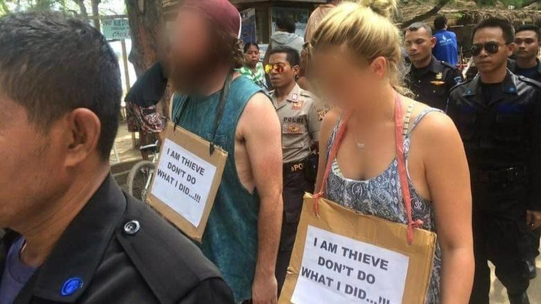 Wisatawan yang dituduh mencuri diarak massa di Gili Trawangan  (Facebook/Gili Trawangan, Meno. Air)