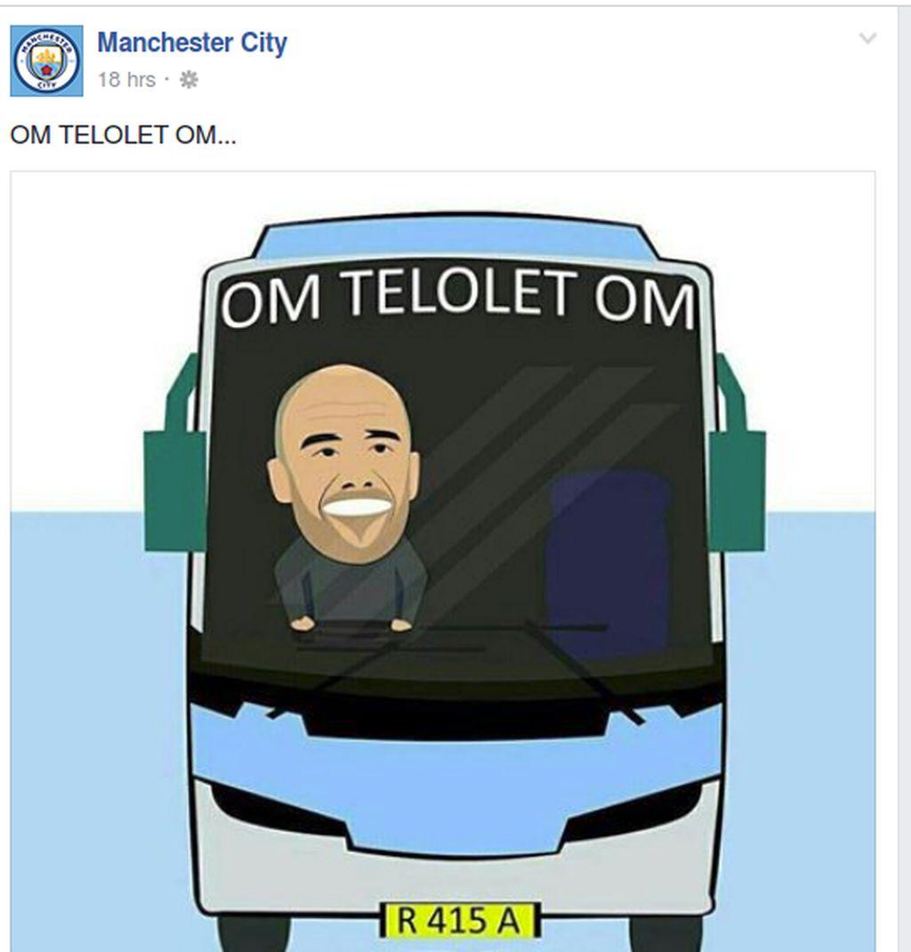 Manchester City ikut meramaikan demam Om Telolet Om dengan memajang gambar sebuah bus bertuliskan Om Telolet Om. Foto: Facebook