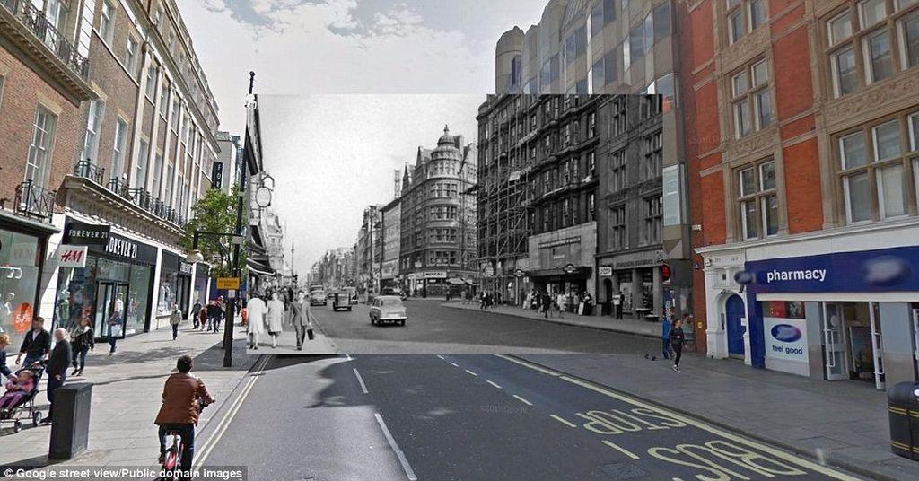 Suasana di salah satu sudut kota London kini dan masa lalu, dalam sebuah proyek modifikasi foto untuk memperlihatkan sejarah London dari era sampai sekitar seratus tahun silam. Foto: dailymail