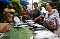 Pedagang ikan di Rawa Belong, Jakarta Barat
