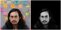 Foto Vikra Ijas (kiri) dan setelah dibuat typography portrait.