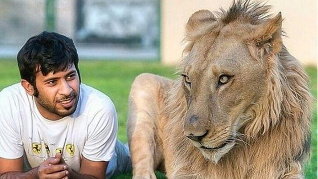 Potret Kemesraan Pria Arab dengan Singa Hingga Macan Tutul