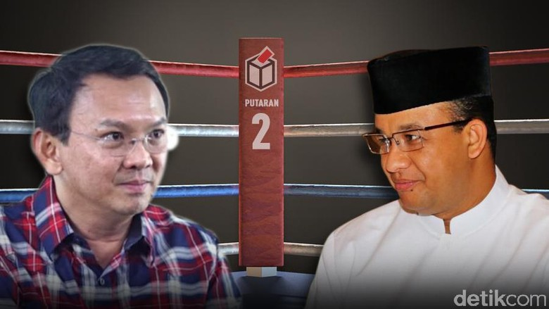 Quick Count Final Median: Ahok 41,99%, Anies 58,01%
