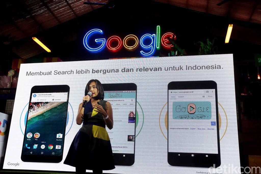 Peluncuran fitur pencarian konten musik di Google App digelar di Jakarta, Selasa (7/3/2017).