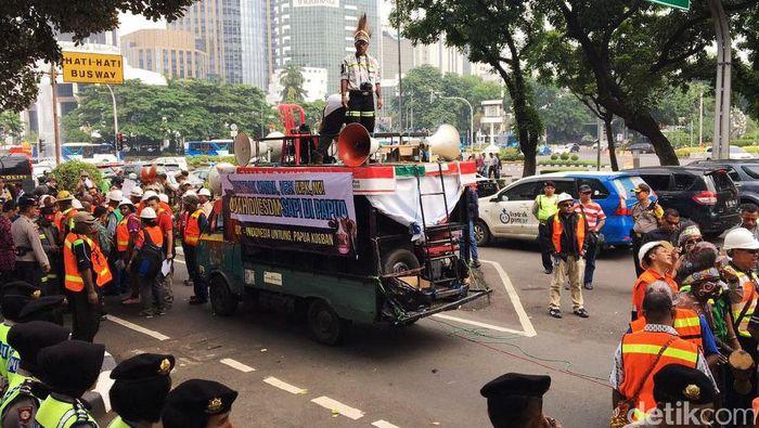 Demo karyawan Freeport di Jakarta. Foto: Muhammad Idris