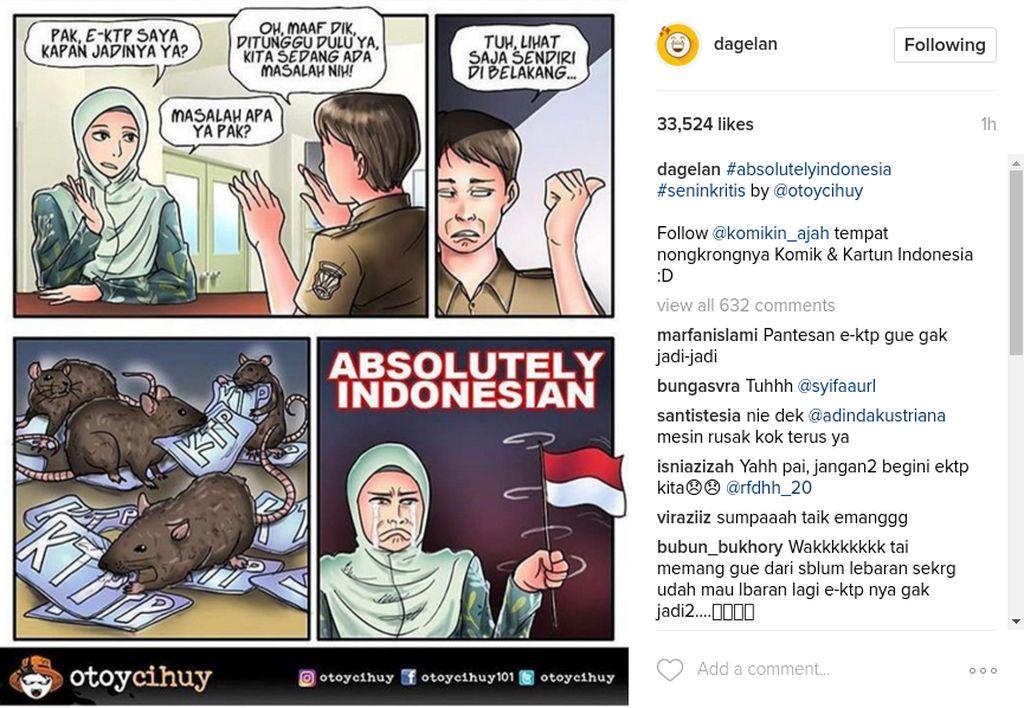 Di berbagai media sosial khususnya di Instagram para netizen dengan kreatif membuat komik bercerita sindiran untuk kasus korupsi e-KTP yang sedang terjadi di Indonesia. (Foto: Screenshot)