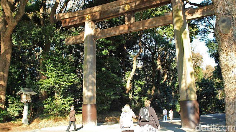 Berlokasi di Tokyo, Kuil Meiji Jingu ibaratnya menjadi sisi lain dari distrik Shibuya yang ramai. Kuil ini sendiri berada persis di tengah kota (Randy/detikTravel)
