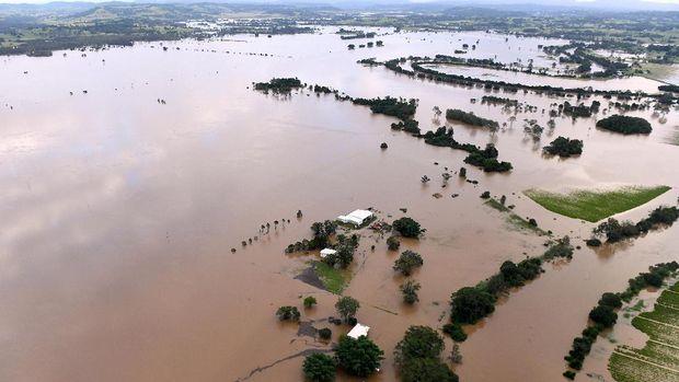 Sebagian besar wilayah kota Lismore, New South Wales tertutup genangan banjir