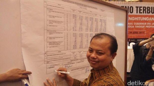 Ketua KPU DKI Sumarno meneken rekapitulasi penghitungan suara tingkat provinsi DKI