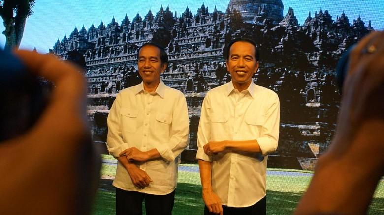Jokowi dan patung lilinnya di Museum Madame Tussauds Hong Kong (Bagus Prihantoro Nugroho/detikcom)
