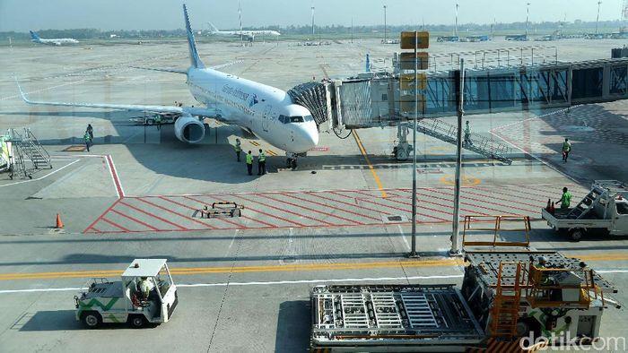 Penerbangan Internasional Perdana Garuda dari Terminal 3/Foto: Grandyos Zafna