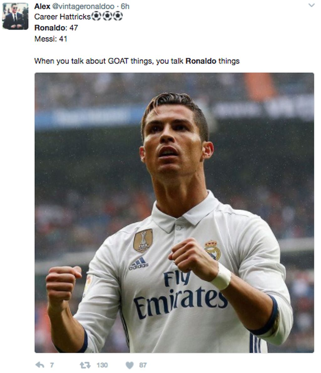 Dari segi hattrick menurut netizen ini, Ronaldo lebih baik dari Messi. Foto:Istimewa