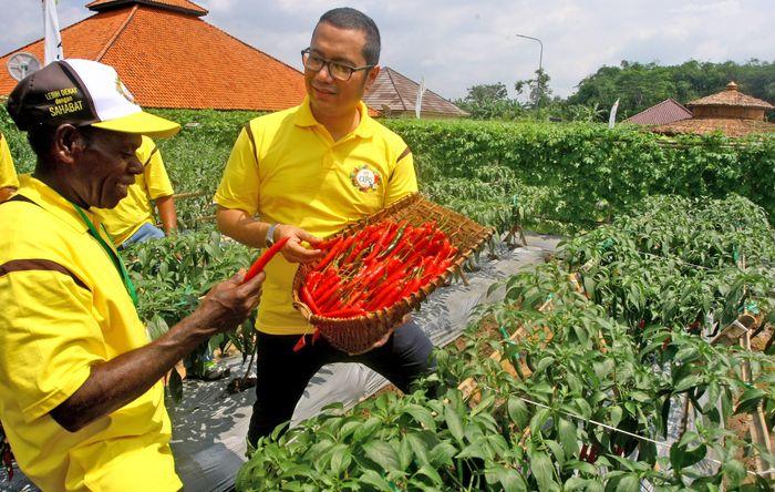 Managing Director PT East West Seed Indonesia (Ewindo) Glenn Pardede menjelaskan keunggulan cabai varietas BAJA F1 kepada petani binaan asal Indonesia Timur disela Expo Nasional Cap Panah Merah di Jawa Barat, Jumat (5/5). Foto: dok. Ewindo