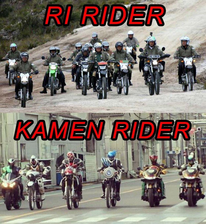 Beda motor RI Rider dengan Kamen Rider. (Foto: Internet)