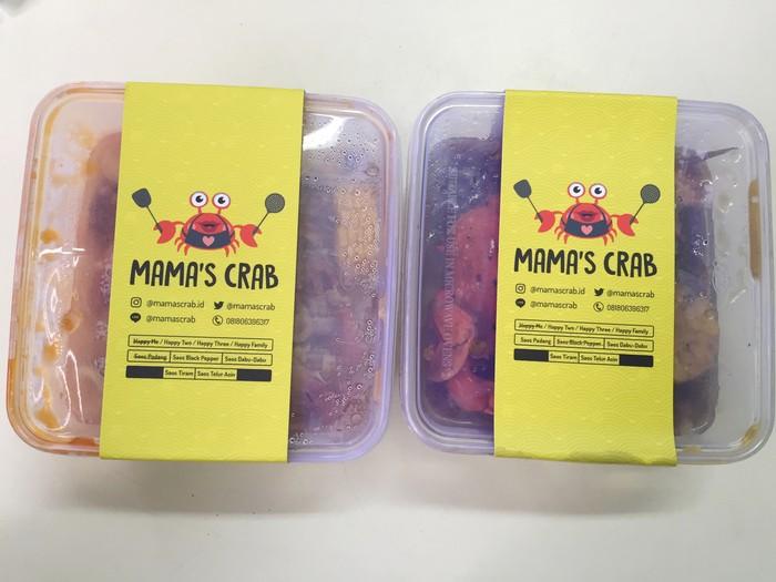 Kepiting kemasan kotak tersedia dalam pilihan porsi untuk 1 hingga 4 orang. Bumbunya bisa memilih lada hitam, saus Padang, saus tiram, saus dabu-dabu atau saus telur asin.