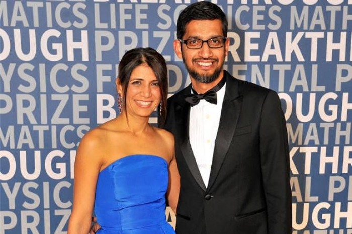Sundar Pichai dan istrinya Anjali. Foto: istimewa