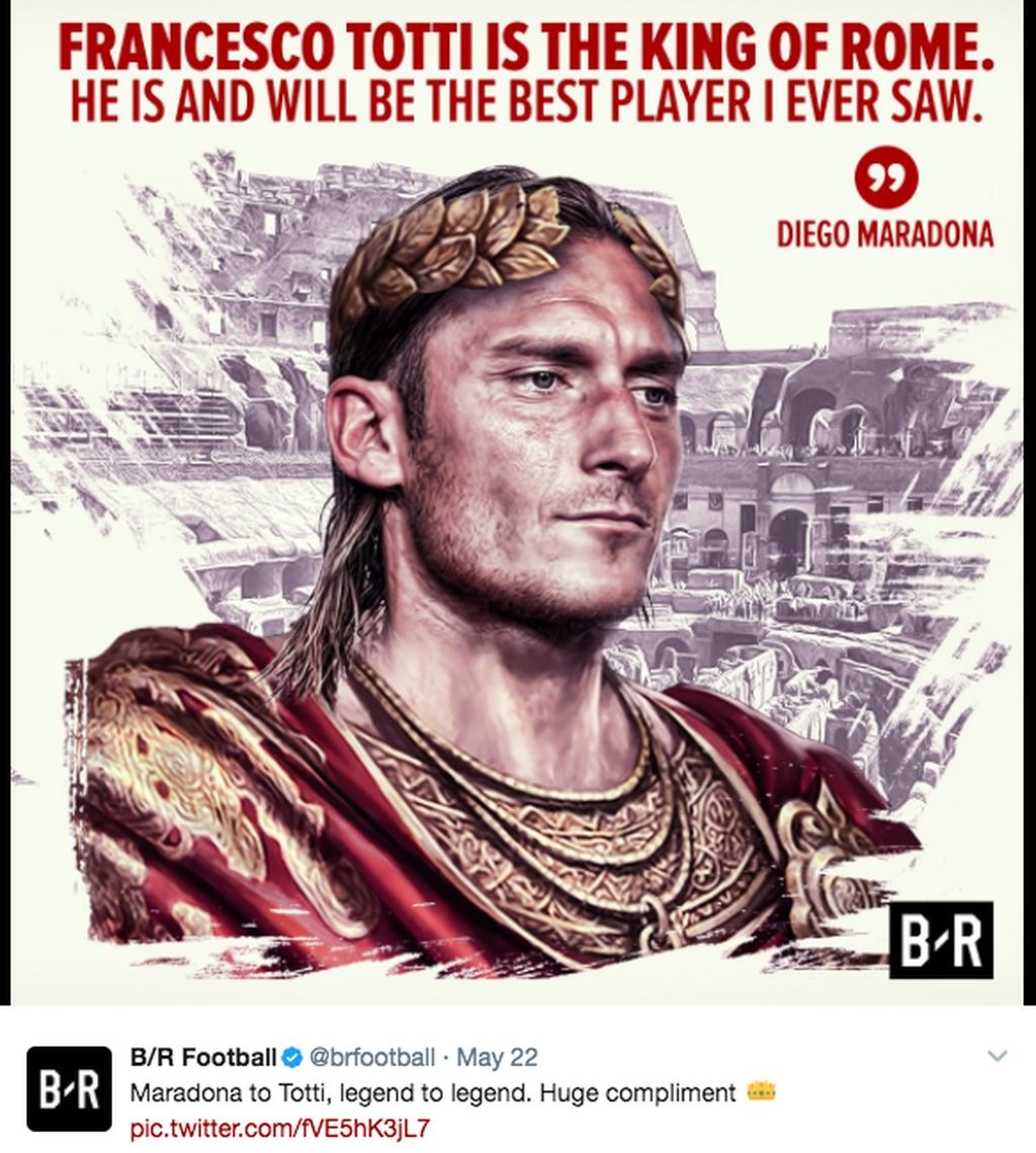 Totti sudah ibarat Kaisar bagi Roma. Foto: dok. Istimewa