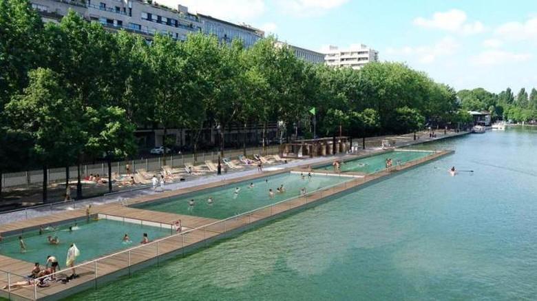 Foto: Kolam renang di kanal Paris (Paris City Hall/Twitter)