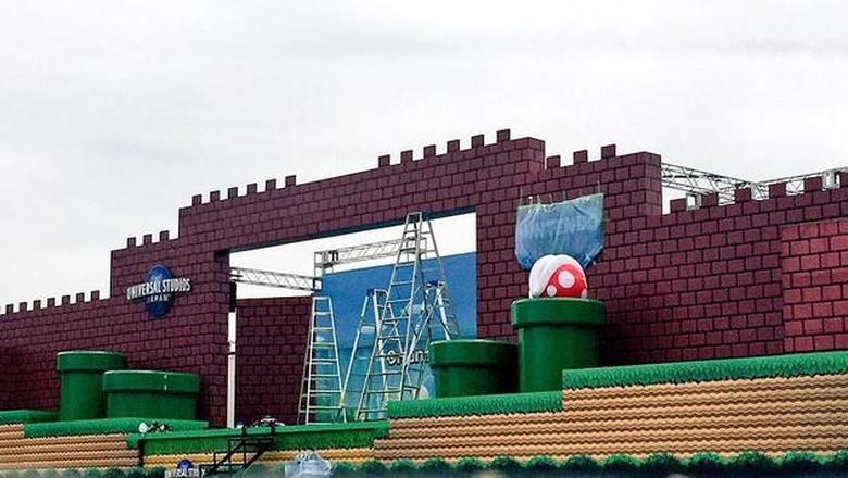 Taman rekreasi Mario Bros yang tengah dibangun di Jepang (@l.c.a.studios_usj/Instagram)