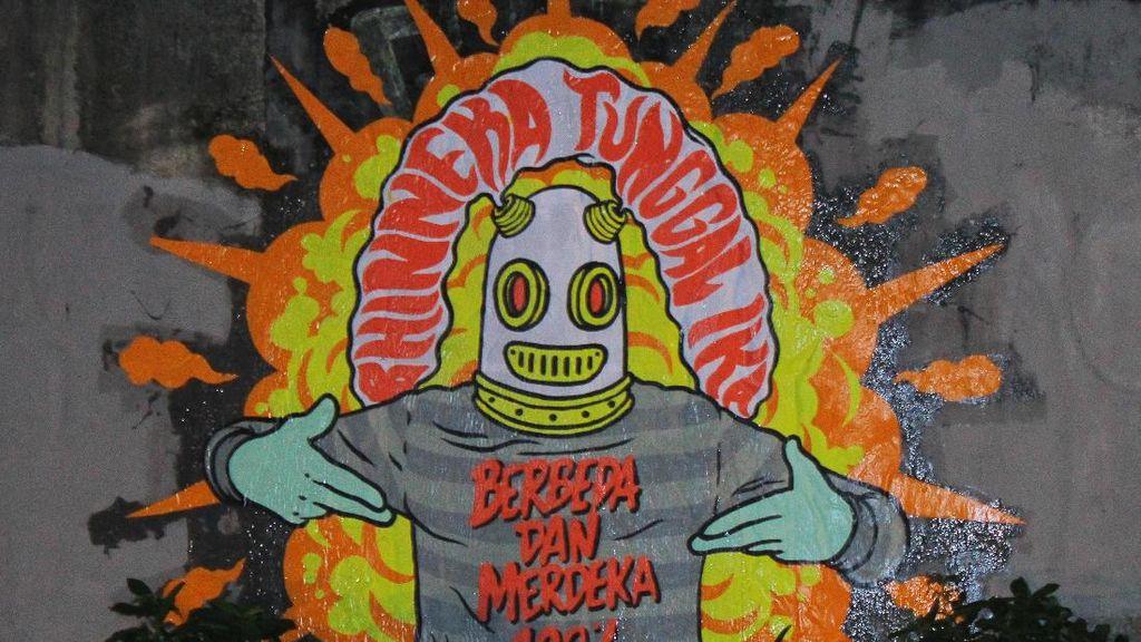Jakarta Tidak Takut Mural Karya Seniman Jalanan Hadapi Teror Bom