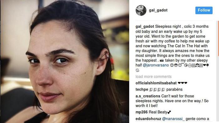 Dengan selfie tanpa makeup, Gadot ingin menunjukkan kehidupannya yang biasa sebagai seorang ibu dari dua anak. (Foto: Instagram/Gal Gadot)