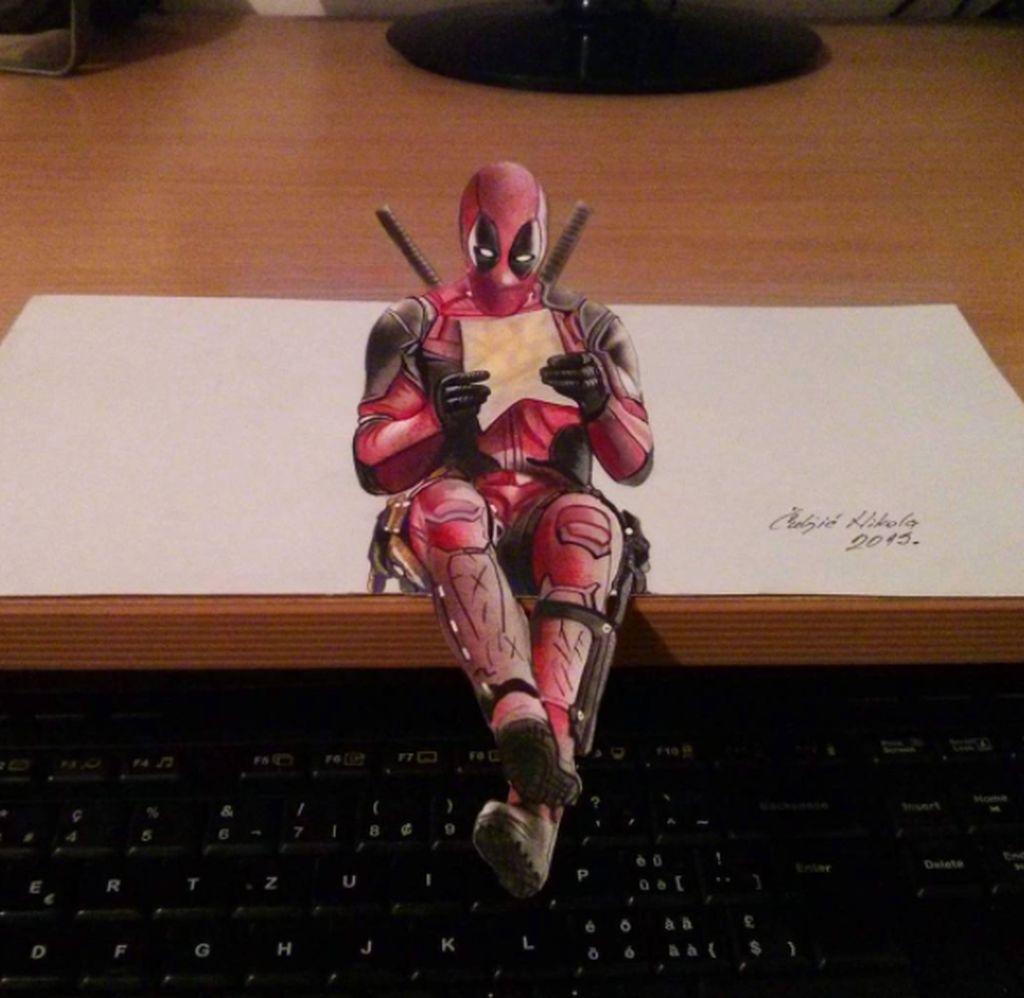 Nikola Culjic sering memamerkan hasil karyanya di Instagram di alamat nikola_culjic_art yang telah diikuti puluhan ribu follower. Ini adalah Deadpool yang tampak seperti duduk. Foto: Instagram