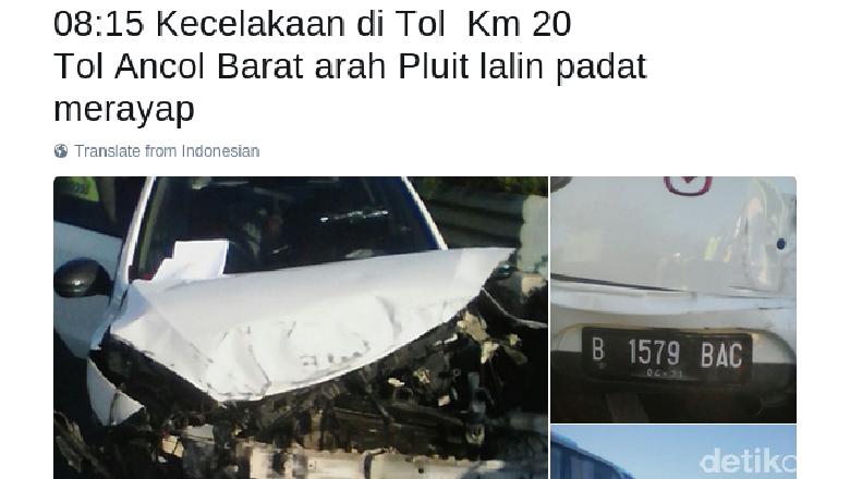 Kecelakaan di Tol Ancol Barat Arah Pluit, Lalin Tersendat