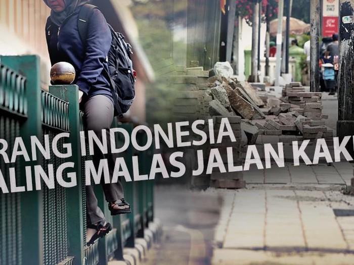 Indonesia disebut menjadi negara paling malas jalan kaki, ternyata banyak buktinya. Foto: infografis