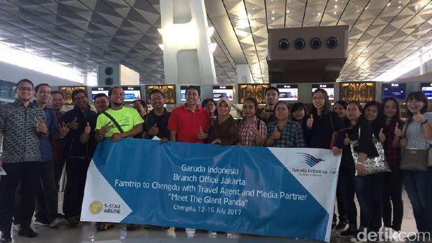 Rombongan Famtrip Garuda Indonesia ke Chengdu (Wahyu/detikTravel)