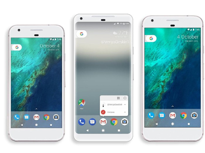 Perbandingan Pixel 2 Xl (tengah), Pixel XL (kanan), dan Google Pixel (kiri). Foto: istimewa