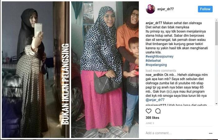 Foto Anjar sebelum dan sesudah berdiet (Foto: Instagram @anjar_dr77)