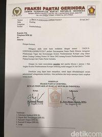 Surat Gerindra mundur dari Pansus Angket KPK.