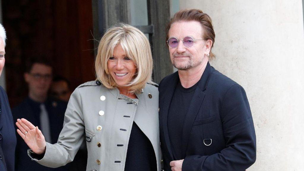 Foto: Akrabnya Istri Presiden Prancis dengan Bono U2