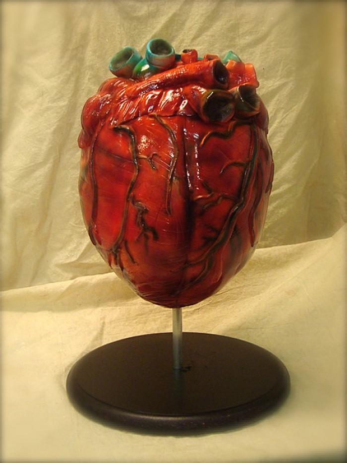 Cake berbentuk jantung dengan detil jaringan mirip seperti realita ini dibuat oleh Debbies Does Cakes. Berwarna oranye kemerahan, cake jantung ini dilengkapi dengan saluran arteri dan juga vena. (Foto: Istimewa)