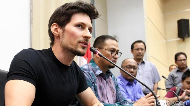Pavel Durov, CEO Telegram saat berkunjung ke Kemenkominfo (Ari Saputra/detikFoto)