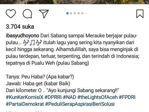 Keterangan foto postingan Instagram Ibas Yudhoyono saat kunjungan kerja di Sabang, Aceh
