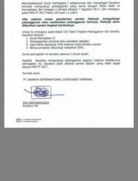 Surat Peringatan II (SP II) untuk Pekerja JICT